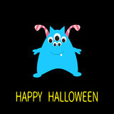 Happy Halloween greeting card. Blue monster with ears, tooth, eyes. Funny Cute cartoon character. Baby collection. Flat design. Bl Stock Images