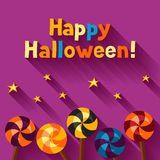 Happy halloween greeting card with candy lolipop Royalty Free Stock Photos