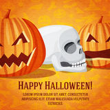 Happy halloween greeting card with carved pumpkins Stock Photography
