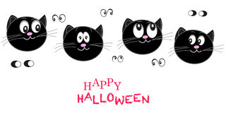 Happy Halloween greeting card with cats vector Stock Image