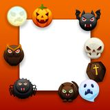 Happy Halloween greeting card. Celebration party background with angry stylized characters Vector Illustration