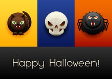Happy Halloween greeting card. Celebration party banner with angry stylized characters Royalty Free Illustration