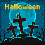 Happy halloween greeting card with cemetery and Stock Images