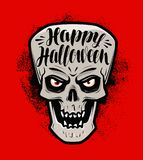 Happy Halloween, greeting card. Scary skull or monster. Lettering vector illustration. Happy Halloween, greeting card. Evil skull or monster. Lettering vector royalty free illustration