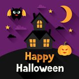 Happy halloween greeting card in flat design style Stock Photo