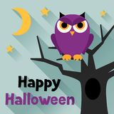 Happy halloween greeting card in flat design style Royalty Free Stock Photography