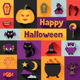 Happy halloween greeting card in flat design style Stock Image