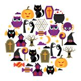 Happy halloween greeting card with flat icons Stock Images