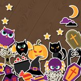 Happy halloween greeting card with flat sticker Stock Photos