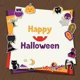 Happy halloween greeting card with flat sticker Royalty Free Stock Photography