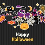 Happy halloween greeting card with flat sticker Stock Photography