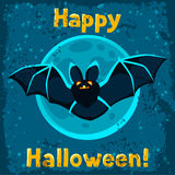 Happy halloween greeting card with flying bat Royalty Free Stock Photo