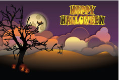 Happy Halloween Greeting Card. Greeting card for Halloween with full moon, cat and pumpkins in a dusk landscape Stock Photo
