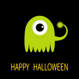 Happy Halloween greeting card. Green monster with big eye and tail. Funny Cute cartoon character. Baby collection. Flat design.  Royalty Free Stock Photography