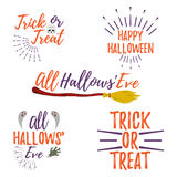 Happy Halloween Greeting Card. Halloween Poster and Banner on Wh Stock Photos