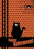 Happy Halloween greeting card with hanging on dash line web spider insect. Cute cartoon character. Flat vector design. Happy Halloween greeting card with hanging Royalty Free Stock Photos