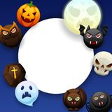 Happy Halloween greeting card. Celebration party background with angry stylized characters Stock Illustration