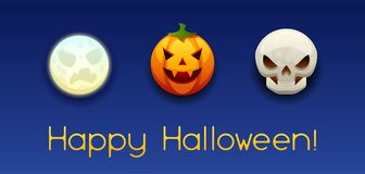 Happy Halloween greeting card. Celebration party banner with angry stylized characters Vector Illustration