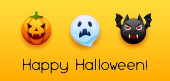 Happy Halloween greeting card. Celebration party banner with angry stylized characters Stock Illustration