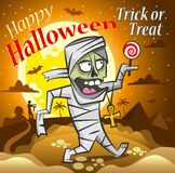 Happy halloween illustration. Mummy with a candy under the moon. vector illustration