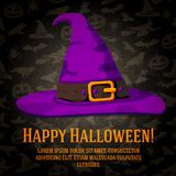 Happy halloween greeting card with hat of the. Witch. On the bright halloween background with bats, witches, hats, spiders, pumpkins Stock Photo