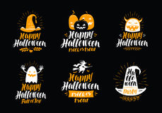 Happy Halloween, greeting card. Holiday symbol or label. Lettering vector illustration Stock Image