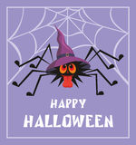 Happy Halloween greeting. Halloween  greeting card with the image of the perky spider Royalty Free Stock Photography