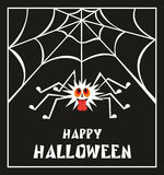 Happy Halloween greeting card. Halloween greeting card with the image of the perky spider Royalty Free Stock Image
