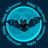 Happy halloween greeting card with moon and flying Stock Photos