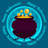 Happy halloween greeting card with moon and pot of Stock Photography