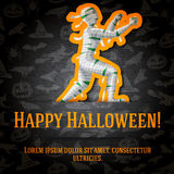 Happy halloween greeting card with mummy sticker Royalty Free Stock Images