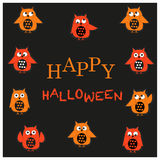 Happy Halloween greeting card with owls vector Royalty Free Stock Photography