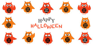 Happy halloween greeting card with owls vector Royalty Free Stock Photos
