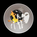 Happy halloween greeting card.paper art style. Royalty Free Stock Photo