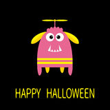 Happy Halloween greeting card. Pink monster with ears, fang tooth, propeller. Funny Cute cartoon character. Baby collection. Flat Royalty Free Stock Photos