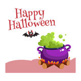 Happy Halloween greeting card, poster, banner design with bat, caldron. Happy Halloween greeting card, poster, banner design with bat and caldron, cartoon vector Royalty Free Stock Image