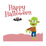 Happy Halloween greeting card, poster, banner design with bat, caldron. Happy Halloween greeting card, poster, banner design with bat and with little green Royalty Free Stock Images