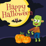 Happy Halloween greeting card, poster, banner design with boiling caldron. Happy Halloween greeting card, poster, banner design with little green zombie monster Stock Photos