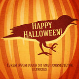 Happy halloween greeting card with raven carved in Stock Images