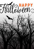 Happy halloween greeting card with scary forest and bat Stock Images