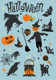 Happy Halloween greeting card. Scary holiday poster. Vector illustration. Halloween poster or greeting card with cartoon pumpkin. This useful to cards, poster Stock Photo