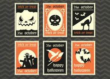 Happy halloween vector greeting card set. Royalty Free Stock Photos
