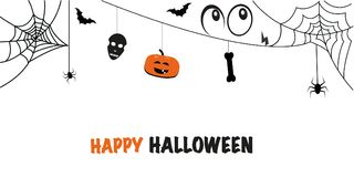 Happy Halloween greeting card with skull, spider, pumpkin, eyes, bat Stock Photo
