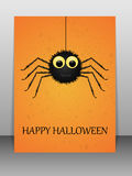 Happy Halloween greeting card with spider. Royalty Free Stock Image