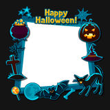 Happy halloween greeting card with stickers Royalty Free Stock Photo