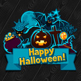 Happy halloween greeting card with stickers Royalty Free Stock Images