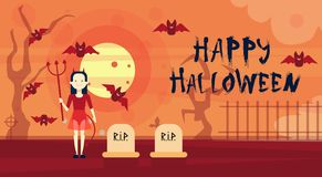Happy Halloween Greeting Card Vampire At Night On Cemetery Graveyard Banner Royalty Free Stock Photo