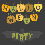 Happy halloween greeting card vector illustration party invitation design with spooky emblem. Stock Images