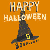 Happy halloween greeting card vector illustration party invitation design with spooky emblem. Stock Photo
