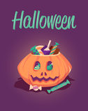 Happy Halloween greeting card. Vector poster illustration. Holiday pumpkin with candy Stock Photo